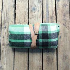 Camping Blanket - Vintage Lightweight Wool Plaid Camp Blanket
