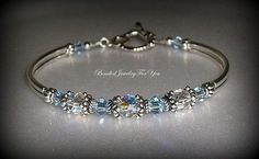Bridal Party Gift Set of NINE: Light Sapphire Crystal Jewelry, Sapphire Blue Jewelry, Blue Crystal Bracelet, Bridesmaid Gift, Something Blue Crystal Bracelets, Crystal Jewelry, Wire Jewelry, Beaded Jewelry, Jewelery, Jewelry Bracelets, Jewellery Nz, Fashion Jewelry, Necklaces