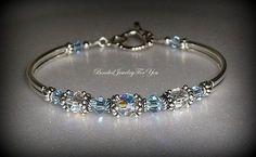 Bridal Party Gift Set of NINE: Light Sapphire Crystal Jewelry, Sapphire Blue Jewelry, Blue Crystal Bracelet, Bridesmaid Gift, Something Blue Crystal Bracelets, Crystal Jewelry, Wire Jewelry, Beaded Jewelry, Jewelry Bracelets, Jewelery, Jewellery Nz, Fashion Jewelry, Necklaces