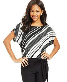 BCX Juniors' Striped Banded-Hem Top - Juniors Tops - Macy's