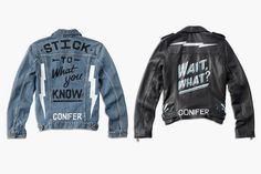 """Lucky Brand and Ornamental Conifer teamed up to create unique jackets to help get through the transition of weather. Ornamental Conifer hand painted idioms for the denim and leather jackets for Lucky brand. """"I was drawn to Lucky Brand because their belief of maintaining authenticity in everything they do is directly in line with my ethos as an artist."""" - Emily L."""