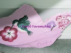 Hibiscus & Hummingbird - painted slate rock
