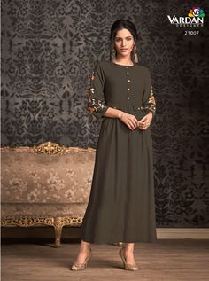 VARDAN D.NO.-21007 RATE : 631 - MIRAAZ VOL-1 BY VARDAN DESIGNER  VARDAN 21001 TO 21008 SERIES  STYLISH COLORFUL FANCY BEAUTIFUL CASUAL WEAR & ETHNIC WEAR HEAVY RAYON LONG KURTIS AT WHOLESALE PRICE AT DSTYLE ICON FASHION CONTACT: +917698955723 - DStyle Icon Fashion