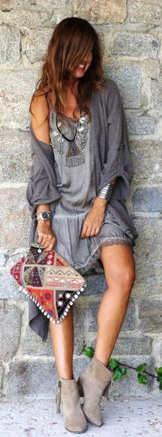 #boho #fashion #spring #outfitideas | Boho shades of gray outfit idea