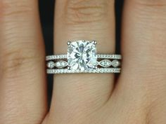 Marcelle & Christie 14kt Gold Cushion FB Moissanite and Diamonds TRIO Wedding Set (Other metals and stone options available)
