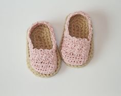 Baby Girl Espadrilles - Crochet Baby Shoes - Light Pink Spring/Summer Booties - Multiple Colors and Sizes Available