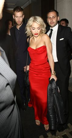 Rita Ora and Calvin Harris pictured leaving Nobu Restaurant after having a romantic meal in Mayfair, London