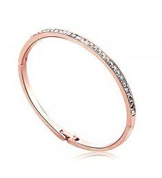 Brazalete pulsera 18k ROSÉGOLD con swarovski AAA cristales nuevo 18,5 cm