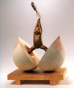 """Theme: """"Momo (Peach) Taro (Boy)"""" from Japanese old tale. A boy born from a peach running through a river, grew up powerful, beaten bad thieves, and made people in his village happy. Miniature Figurines, Installation Art, Dark Art, Unique Art, Keep Calm, Sculpture Art, Bronze, Amazing Art, Sculpting"""