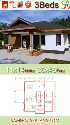 House Plans with 3 Bedrooms Hip roof feetThe House has:One-story bathrooms,living roomKitchen,Dinning room,Washing machine Small Modern House Plans, Small House Floor Plans, Beautiful House Plans, Dream House Plans, House Plans 3 Bedroom, Bungalow Floor Plans, Modern Bungalow House, Cottage Floor Plans, Simple House Design