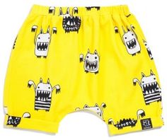Kukukid Yellow Monsters Shorts - available for international delivery from online kids store www.alittlebitofcheek.com.au