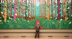 """British artist David Hockney poses in front of his painting entitled """"The… David Hockney, Street Art, Royal Academy Of Arts, Sense Of Place, Big Picture, Book Art, Contemporary Art, Illustration Art, Neon Signs"""
