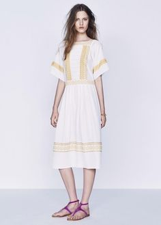 SUMMER STUNNER! Vanessa Bruno Eyelet Embroidery Silk Dress size 34, 36