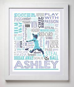 Soccer Print Soccer poster Soccer by KremerPrintandDesign on Etsy, $10.99