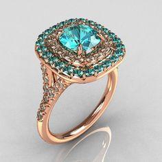 Tiffany Soleste Style 10K Rose Gold 1.25 Carat Cushion Aquamarine Bead-Set Diamond Engagement Ring R116-10RGDAQQ. $1,249.00, via Etsy.