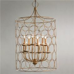 *actual* Living Room Light!! Circle Cage Candles Chandelier