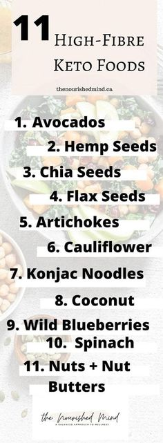 When it comes to keto, you want to make sure you're still eating enough fibre. Here are 11 high-fibre keto foods plus a meal plan! Nutrition Food List, Nutrition Information, Healthy Eating Recipes, Keto Recipes, Food Plus, Fiber Rich Foods, Wild Blueberries, Keto Foods, How To Make Salad
