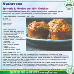 Quiche Recipes, Appetizer Recipes, Keto Recipes, Cooking Recipes, Healthy Recipes, Appetizers, Mushroom And Spinach Quiche, Lean Protein Meals, Vegetarian Quiche