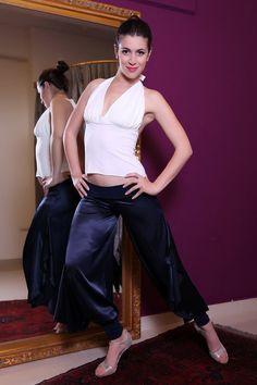 Womens Satin Tango Pants With Slits Satin Pants Milonga by conDiva