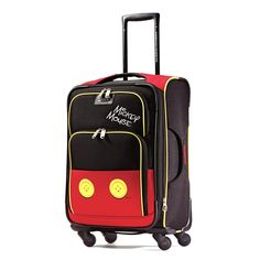 American Tourister Disney Mickey Mouse Pants Softside Spinner 21, Multi, One Size
