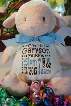 "Personalized Baby Gift, ""Baby Cubby"" Loverbee Lamb, a plush stuffed animal keepsake with machine embroidered birth information"