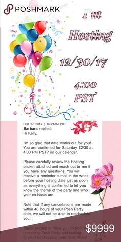 Yay I'm Hosting Party # 3 💖🎉🤗 Ok everyone let's get this thing going 🎉 Party # 3 is on 12/30/17 at 4:00 PST and I'm super excited to be Hosting when Posh has all these great new things going on with the APP 😊💖🎉 of course I'll keep you posted when the theme is announced 😊💖🎉👍🏻 Get those calendars marked 😊💗 Other