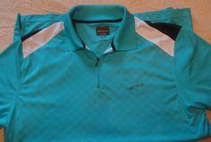 Mens Greg Norman PlayDry for Tasso Ella Golf Polo Shirt Aqua Size L Zip #GregNorman #PoloShirt