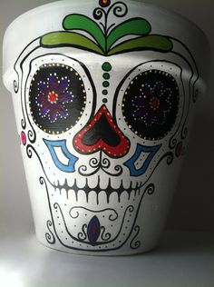 "Day of the Dead 6"" flower pot planter Sugar skull catrina Halloween decor succulent garden hand painted terra-cotta pot skeleton mask by SpiritofAine on Etsy"