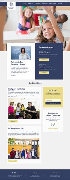 Elementary School Website Template Website Layout, Website Web, Website Ideas, Create Website, Website Designs, Web Layout, Education Website Templates, Web Design School, School Prospectus