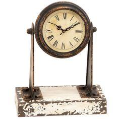 Antique Weathered Miniature Spotlight Mantle Clock
