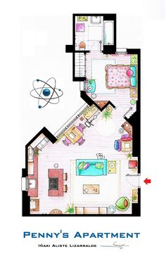 ". This is a house-plan based in the apartments of Sheldon, Leonard and Penny from the TV show ""The Big Bang Theory"". It's an original hand drawed plan, in scale, coloured with colour pens and with full details of furniture and complements … The..."