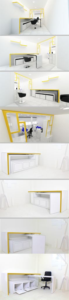 CONSULTORIO ONTOLÓGICO. Se requería una solución para aprovechar el espacio y con el diseño de este mobiliario se resuelve de manera que la mesa es modular y logra una transformación y aprovechamiento del lugar.Diseño y producción por Vircorp  https://instagram.com/vircorpdesign/