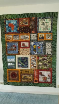 My African Quilt. We traveled in 2019 to South Africa. I had the opportunity to visit a fabric store where we bought several fabrics with beautiful African prints. Several segments are appliqué. Some segments are inspired from pictures we took. African Quilts, South Africa, Opportunity, Applique, Fabrics, Blanket, Inspired, Store, Prints