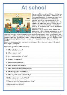 Teaching Jobs, Teaching Ideas, English Reading, English Activities, Grammar And Vocabulary, School Worksheets, Student Reading, Reading Skills, Primary School
