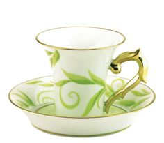 Bernardaud Frivole Cup, $222 The leaves twining around this cup and saucer are as graceful and green as the leaves on a tea plant in early Spring. at Atkinson's, www.atkinsonsofvancouver.com