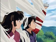 """Inuyasha, Sango, and Miroku. Sango :""""Inuyasha, it's you."""" Miroku :"""" What are you doing?"""" Inuyasha :"""" Do me a favor, don't ask..."""""""
