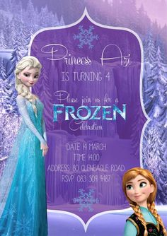 Frozen birthday party invitation design by Very Cherry Design Studio Stationery Design, Invitation Design, Invitations, Frozen Birthday Party, Cherry, Studio, Disney Princess, Celebrities, Celebs