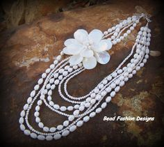 multistrand freshwater pearls  shell necklace  https://www.etsy.com/shop/BeadFashionDesigns SOLD OUT