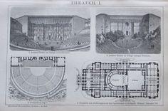 1895 THEATER I. II Original Alter Druck Antique Print Lithographie
