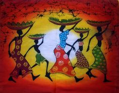 "Busy Life's African Wax Batik   Gorgeous vibrant color hand made wax batik  100% cotton.  Lovely framed or unframed.  Easily washed and ironed.  Arusha, East Africa  ""28.5 × 22"""