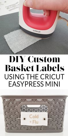 Do-it-yourself Solar Power - A Primary Manual For Beginners How To Create Labels For Baskets - 2 Ideas With The Cricut Easypress Mini Heatpress And One Idea If You're Without A Cricut Organizing Labels, Home Organization, Organization Ideas, Storage Ideas, Diy Craft Projects, Diy Crafts, Project Ideas, Simple Crafts, Canning Labels