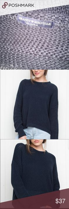 "Brandy Melville oversized knit sweater Beautiful and oversized for that comfy ""I stole my bf sweater"" look. Like new condition. Brandy Melville Sweaters Crew & Scoop Necks"