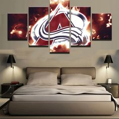 fc7170f1c1a 5 Panel Colorado Avalanche NHL Team (Fire)