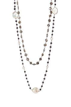 Labradorite & 5-15mm Freshwater Pearl Station Necklace Set by Assorted on @HauteLook