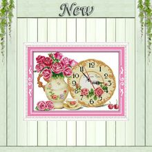 Flores color de rosa decoración del hogar del reloj pintura contó impresión en lienzo DMC 14CT 11CT kits De Bordado chino de punto de Cruz Costura(China (Mainland))