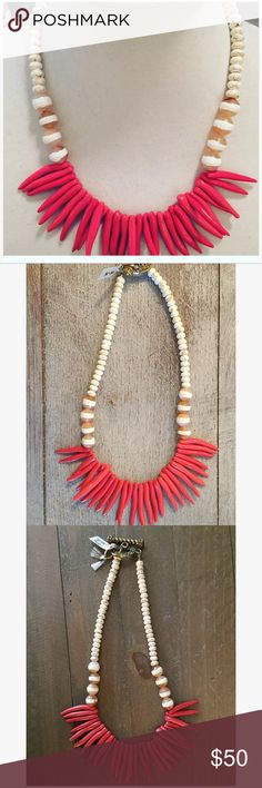 Coral spike White and Cream Short Necklace Beautiful one of a kind statement piece ! This necklace features a coral spike front and white cream pink stripe beads!  Beautiful Beaded necklace! Jewelry Necklaces