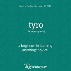 What are you a tyro at?