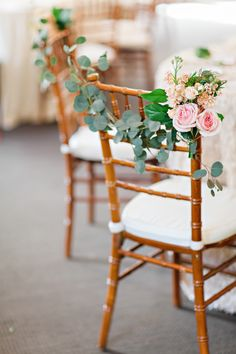 Wood chiavari chairs, pink roses & eucalyptus leaves, wedding seating décor // Pinkerton Photography