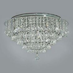 "ceiling mount chandelier | 20"" Luxema Ceiling Flush Mount Crystal Lighting Fixture Chandelier w ..."