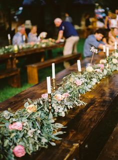 floral table runner - photo by Cara Robbins Photography http://ruffledblog.com/floral-inspired-treehouse-wedding